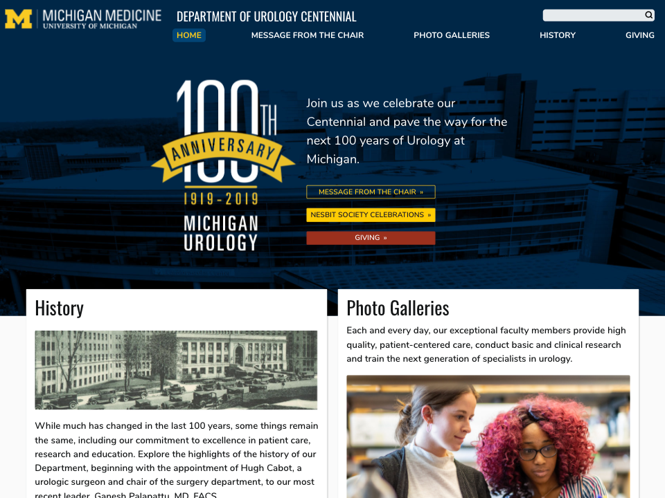 Michigan Urology 100th Anniversary home page